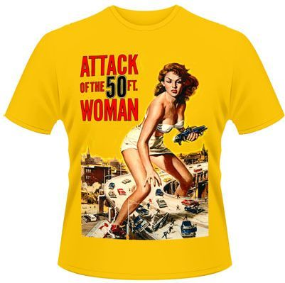 VINTAGE HORROR, attack of the 50ft woman (boy) yellow cover