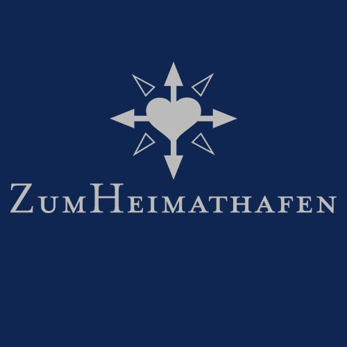 Cover ZUM HEIMATHAFEN, logo (girl), light navy