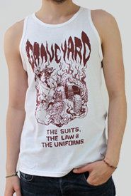Cover GRAVEYARD, suit the law_white_tank top
