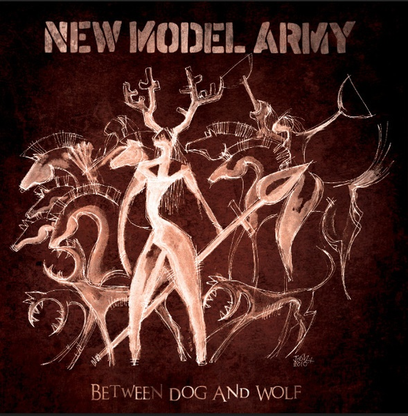 Cover NEW MODEL ARMY, between dog and wolf