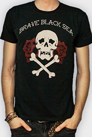 Cover BRAVE BLACK SEA, skull roses (boy) black