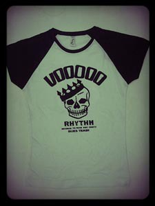 Cover VOODOO RHYTHM, baseball skull logo (girl) white