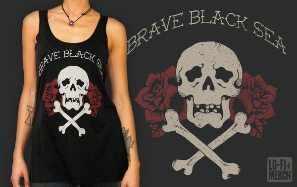 Cover BRAVE BLACK SEA, skull roses (girl) black tanktop