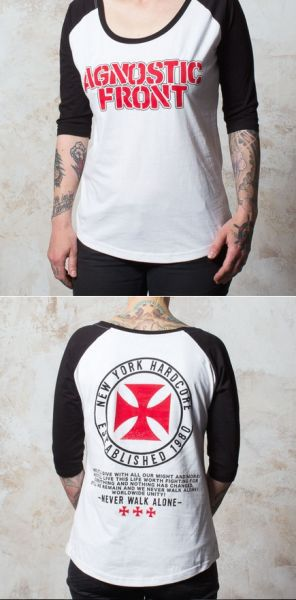 Cover AGNOSTIC FRONT, never walk alone (girl) white/black baseballshirt