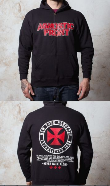 Cover AGNOSTIC FRONT, never walk alone (boy) black zip-hoodie