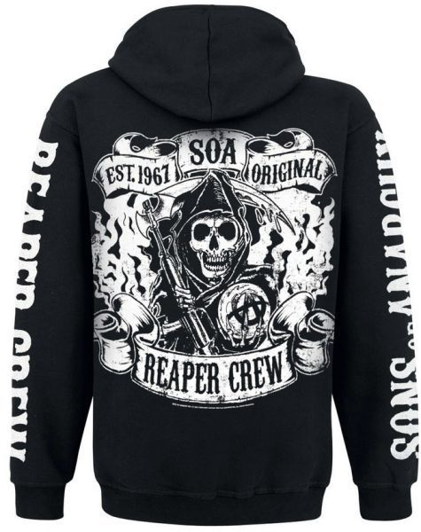SONS OF ANARCHY, reaper crew (boy) black ziphoodie cover