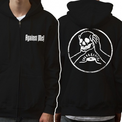 Cover AGAINST ME, skull (boy) black zip hoodie
