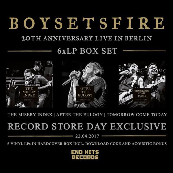 Cover BOYSETSFIRE, 20th anniversary live (RSD 2017)