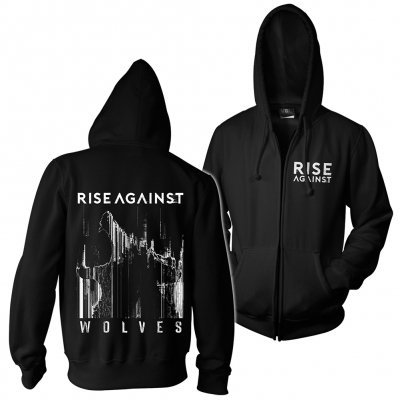 Cover RISE AGAINST, wolves pocket (boy) black zip-hoodie