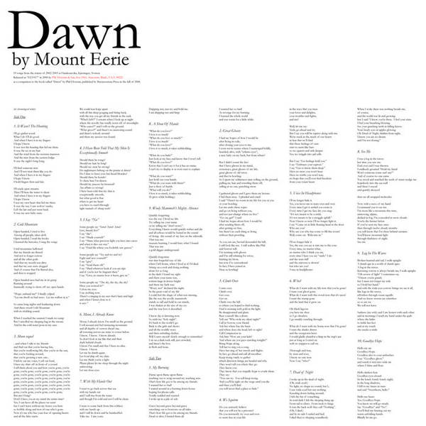 Cover MOUNT EERIE, dawn