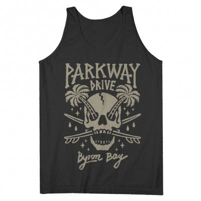 PARKWAY DRIVE, skull palms (boy) charcoal tanktop cover