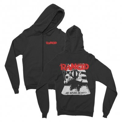 RANCID, and out come the wolves (boy) black zip.hoodie cover