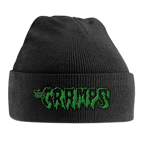 CRAMPS, knitted ski hat green logo cover