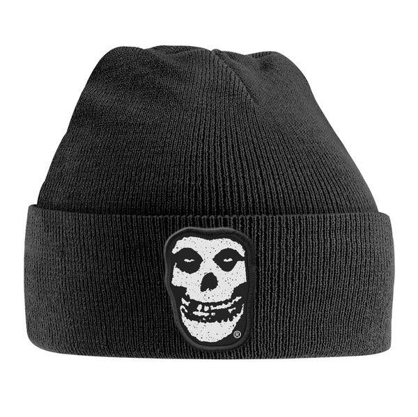MISFITS, knitted ski hat skull patch cover