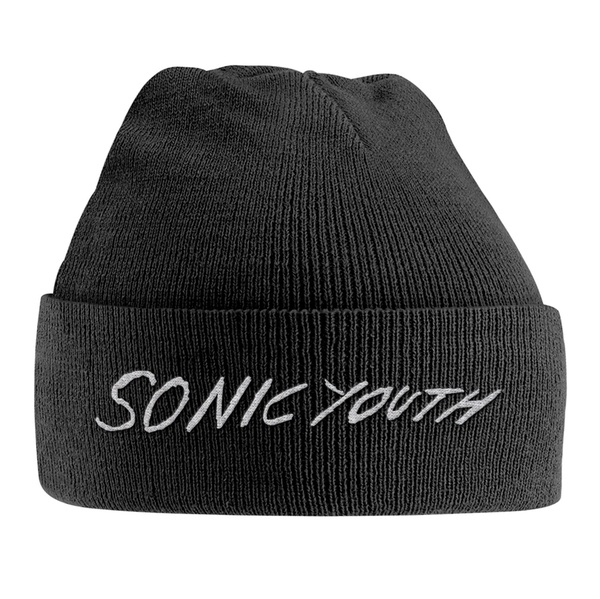 SONIC YOUTH, knitted ski hat white logo cover