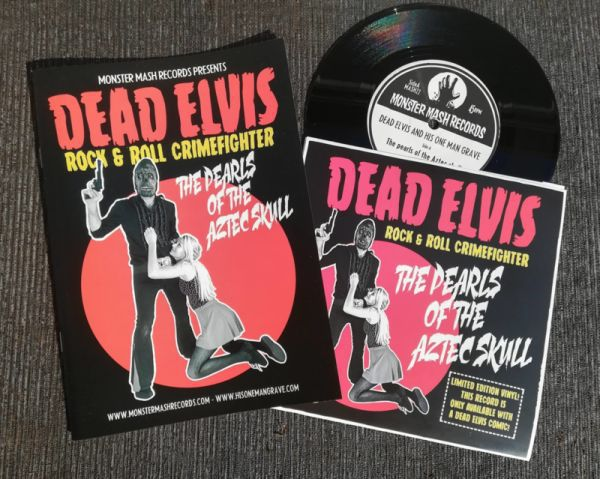 DEAD ELVIS & HIS ONE MAN GRAVE, pearls of the aztec skull (&comic) cover
