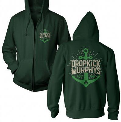 DROPKICK MURPHYS, anchor admat green (boy) forrest green zip-hood cover