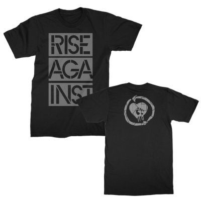 RISE AGAINST, stacked ghost notes stencil (boy) black cover