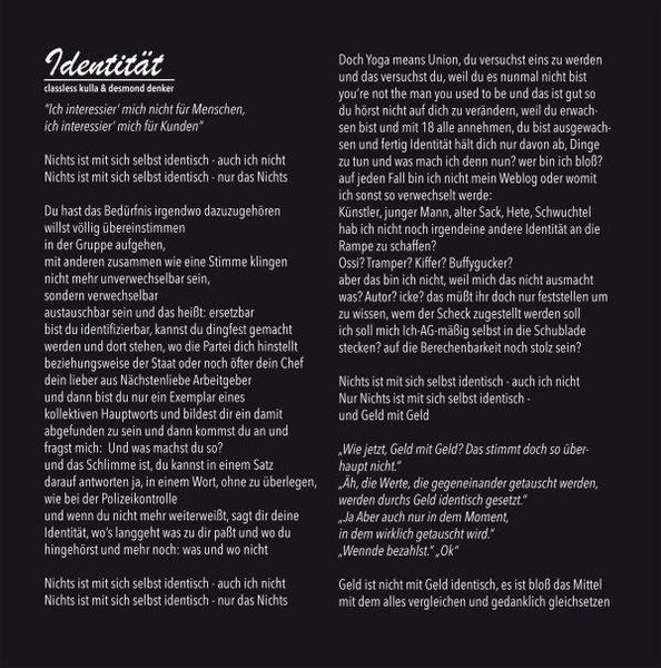 CLASSLESS KULLA, DESMOND DENKER & ISTARI LASTERF., identität/besseres leben cover