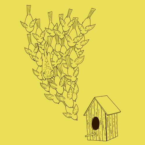 Cover ZUM HEIMATHAFEN, birdhouse (boy), maize yellow