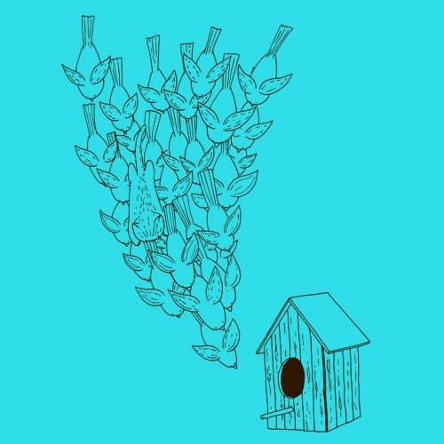 ZUM HEIMATHAFEN, birdhouse (girl), turquoise cover