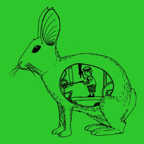 Cover ZUM HEIMATHAFEN, inside the rabbit (boy), green